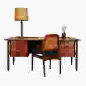 Danish Modern Teak Executive Desk w/ Sculpted Accents