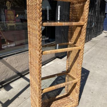 Force Be With You   Vintage Wicker Etagere with Glass Shelves
