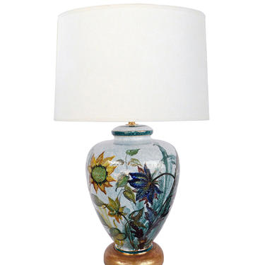 Artist Signed Saca Italy Polychromed Lamp with Bold Floral Stems