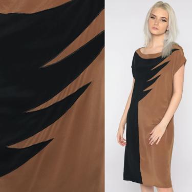Color Block Dress Silk Dress Black Brown Midi Dress 80s 90s Cap Sleeve Graphic Party Dress Shift Vintage 1990s Retro Small Medium by ShopExile