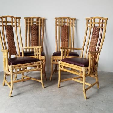 McGuire Style Hight Back Bamboo and Leather Pagoda Dining Chairs - Set of 4. by MIAMIVINTAGEDECOR
