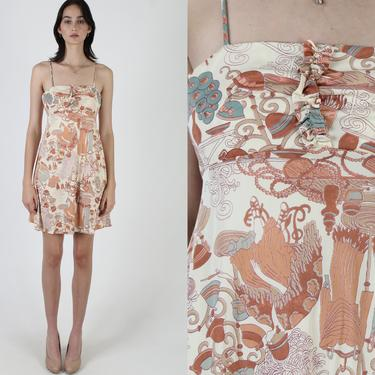Vintage 70s Hat Print Dress / Roaring 20s Fashion Dress / Photoprint European Garment Scene / 1970s Lawn Nouveau Mini Dress by americanarchive
