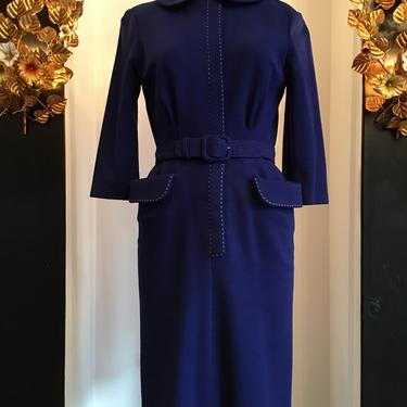 1950s knit dress, vintage 50s dress, Polly peck dress, dress with pockets, size medium, 1950s wiggle dress, hourglass dress by melsvanity