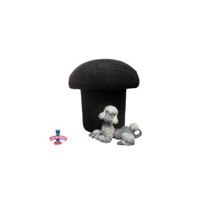 Psychedelic Mushroom Ottoman, Black Shag Footstool, 1970s Mid Mod Mushroom Footstool, Extra Seating, Vintage Furniture by AGoGoVintage