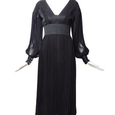 RONALD AMEY-1970s Black Silk & Chiffon Dress, Size-8