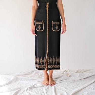 Vintage 60s 70s Black High Waisted Wool Blend Knit Pencil Skirt w/ Tan Geometric Design & Pockets | Bohemian | 1960s 1970s Boho Wiggle Skirt by TheVault1969