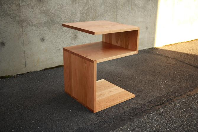Lawry End Table, Geometric End Table, Wood Z Nightstand, Modern Hardwood Side Table (Shown in Cherry) by TomfooleryWood