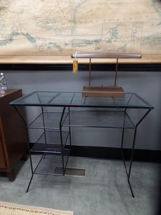 Mid-Century Modern wrought iron desk with glass top