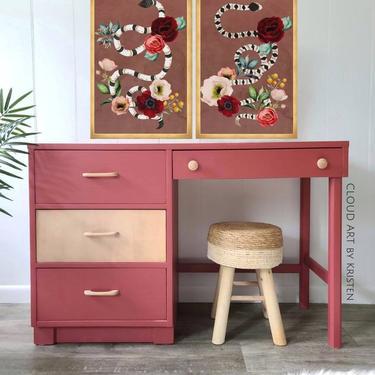 FREE SHIPPING! Vintage Bassett Furniture Campaign Desk Midcentury Boho Modern Teen Girls Pink Make Up Table Vanity by CloudArtbyKristen