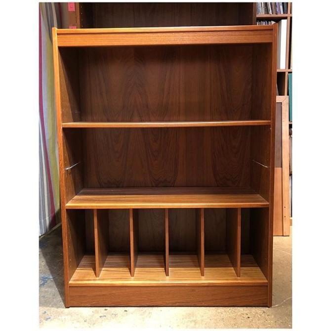 Teak Bookcase with vinyl compartment 36 W x 12 D x 48