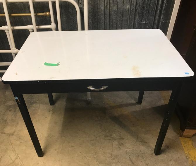 Enamel topped single drawer table
