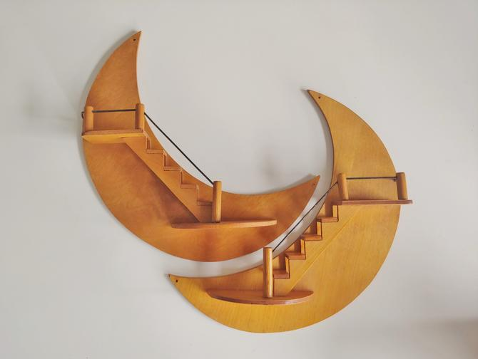 Vintage Pair of Display Shelves - Handmade Half Moon Steps by ModandOzzie