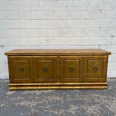 Vintage Console Media TV Stand Table Cabinet Wood Bench James Mont Style Mid Century Modern Regency Low Storage Credenza  CUSTOM PAINT Avail by DejaVuDecors