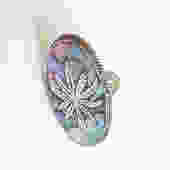 Vintage Sterling Silver + Abalone Weed Leaf Ring/ Mexico Taxco Marijuana Large Statement Ring/ size 8 8.25 by bottleofbread
