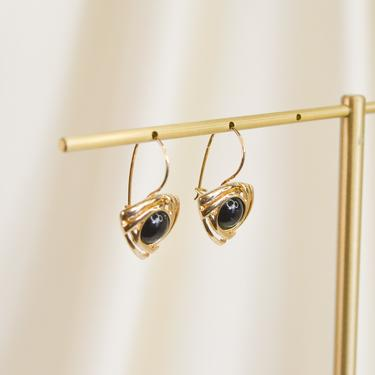 gold triangle earring, gold earring, gold dangle earring, gold drop earring, gold vintage earring, gold hoop earring, gift idea, made in US by melangeblancdesigns