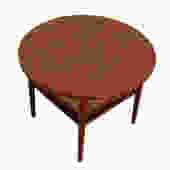 Elegant MCM Walnut Occasional / Side Table w/ Rattan Shelf