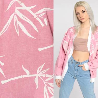 Pink Jacket 80s Cotton Blend Jacket Bamboo Leaf Print Jacket Lightweight Vintage 1980s Windbreaker White Large by ShopExile