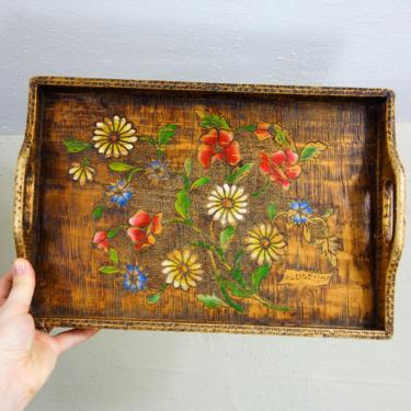 """Vintage wood serving tray with handles 14""""x9.5"""" rustic cottagecore decor, small handmade woodburned floral platter for boho kitchen display by forestfathers"""