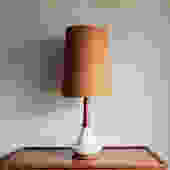 Mid Century Danish Teak & Ceramic Table Lamp - Treasury Pick by MicroscopeTelescope