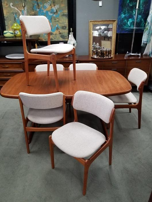 Set of six Danish Modern teak dining chairs by Erik Buch
