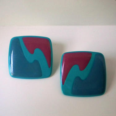 Vintage 1980s Turquoise, Green and Plum Square Earrings by timelesspieces