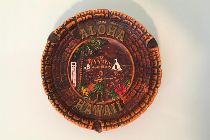 Vintage Aloha Hawaii Ashtray Hula Girl Uke Surfer Surfing