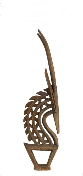 Bamana Chi Wara Mali African Carved Wood Antelope Headdress with Provenance by LynxHollowAntiques