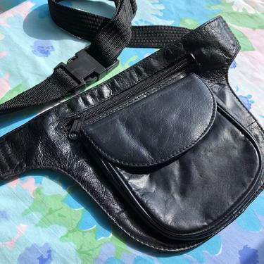 Vintage 80s Leather Fanny Pack, Genuine 100% Leather with Front Pocket, Zipper and Adjustable Strap, Made in India by AMORVINTAGESHOP