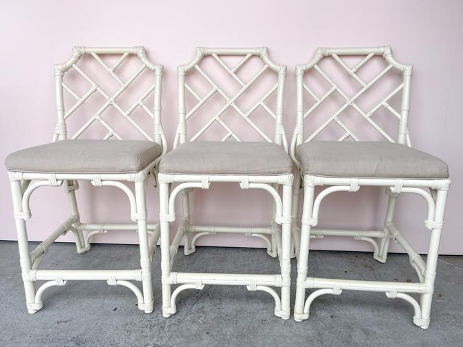 Set of Three Rattan Chippendale Stools