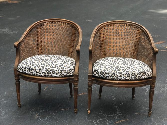 Beautiful antique French cane chairs with great new cheetah down cushions by HolbrookBazaar