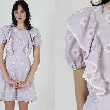 Vintage 70s Velvet Daisy Floral Dress Lilac Country Prairie Field Bow Tie Waist Mini Dress by americanarchive