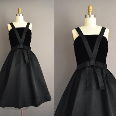 vintage 1950s | Gorgeous Branell Jet Black silk Holiday Cocktail Party Full Skirt Dress | Small | 50s dress by simplicityisbliss