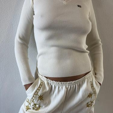 90's Polo Jeans Co. Ralph Lauren V Neck Cotton Blend Cream Sweater by VintageRosemond