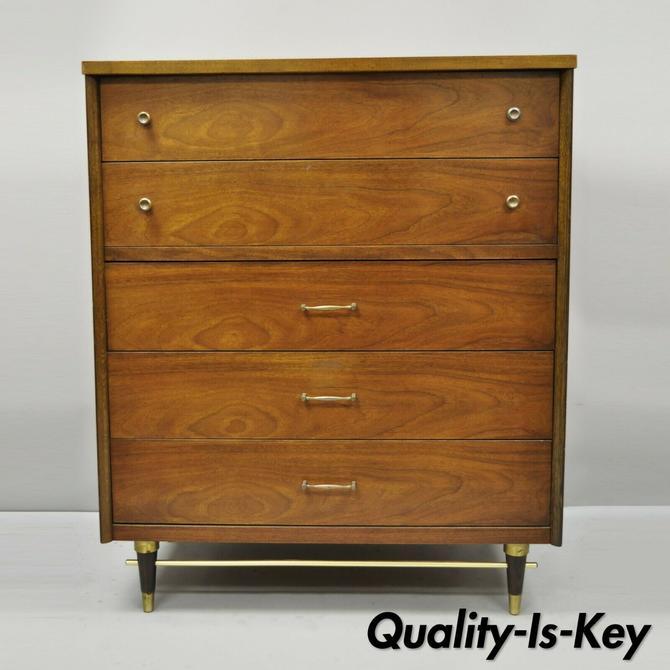 Vtg Mid Century Modern Walnut Tall Chest Dresser by Bassett Brass Stretcher Base
