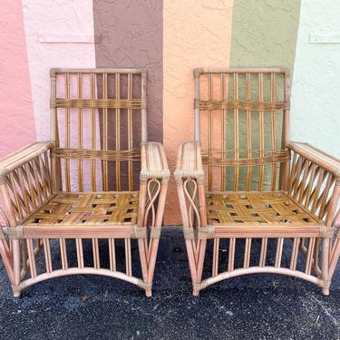 Pair of Old Florida Rattan Lounge Chairs