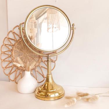 Vintage brass adjustable personal mirror. Makeup mirror. by BlushandIvyDesign