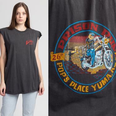 Vintage 1987 Yuma Prison Run Biker Tee - Men's XL | Vintage Distressed Faded Black Motorcycle Rally Muscle Shirt by FlyingAppleVintage