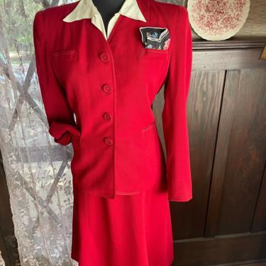 Vintage 1940s 2 Piece Cranberry Jacket Skirt Suit Set - Medium by PaperMoonVtg