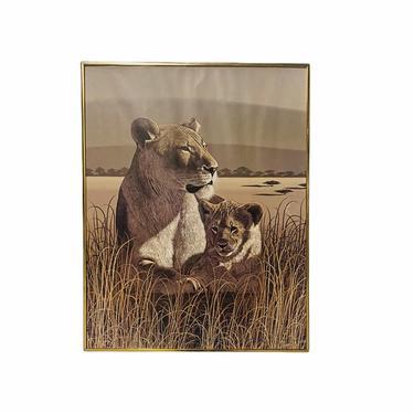 80's Safari Print by Larry Jacobsen, MCM Safari Lions Wall Art, Safari Litho, Mid Century Poster by VivaLaVintagedotTX