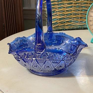 L. E. Smith Blue Purple Carnival Glass DIAMOND LACE Pattern Basket