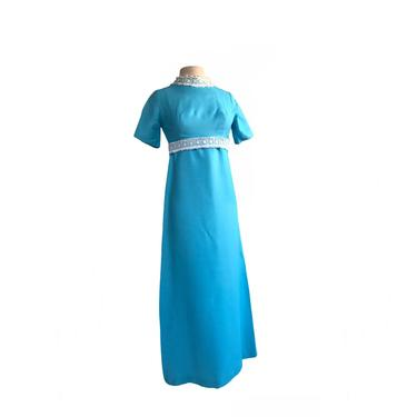 Vintage 60s aqua turquoise blue maxi dress| white floral lace neck and belt trim by Vintagiality