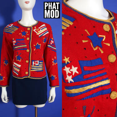 DEADSTOCK Michael Simon Vintage 90s Red Americana Flag Novelty Sweater Cardigan by RETMOD