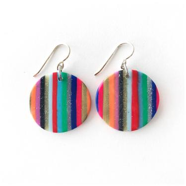 Striped circle earrings - handmade with polymer clay and sterling silver ear wire by ChrisBergmanDesign
