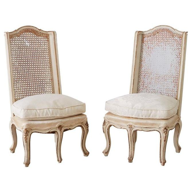 Pair of French Provincial Five-Leg Slipper Chairs by ErinLaneEstate
