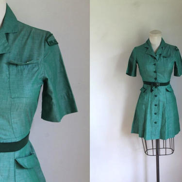 vintage 1950s/60s official girl scout uniform dress / XS with a belt by MsTips