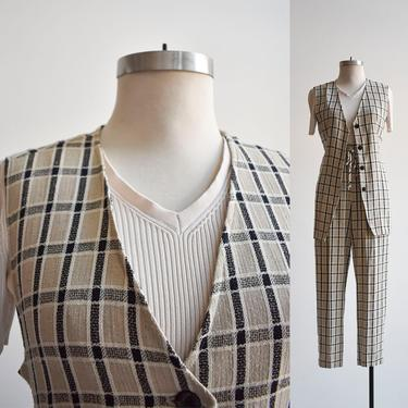 90s Plaid Linen 2pc Outfit Slacks & Vest by milkandice