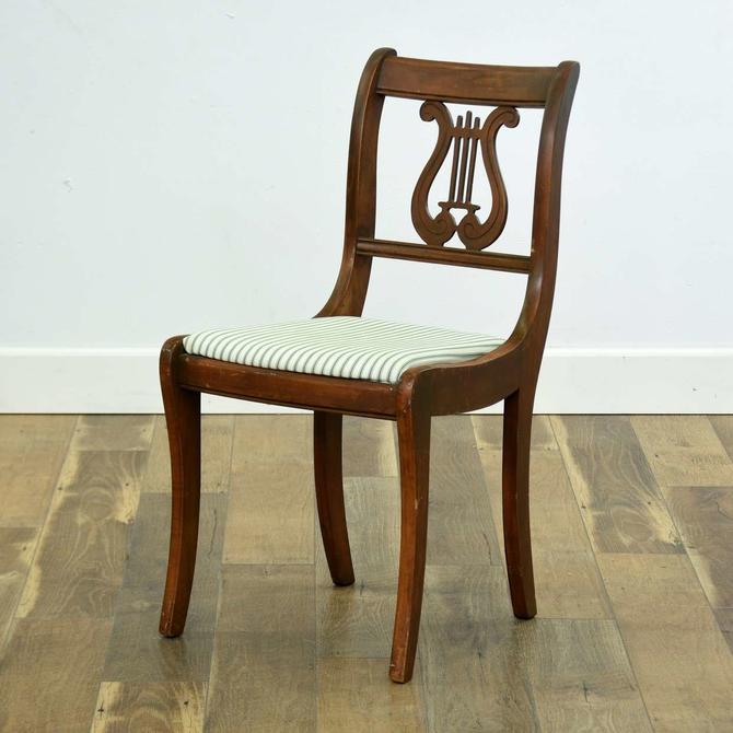 Empire Revival Lyre Back Accent Chair W Striped Cushion
