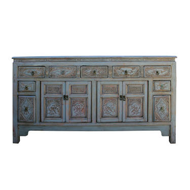 Chinese Distressed Gray Floral Motif Sideboard Console Table Cabinet cs5774E by GoldenLotusAntiques