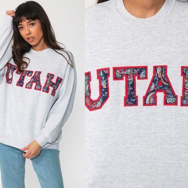 Utah Sweatshirt 90s Quilted Heathered Grey Sweatshirt Baggy Jumper Crewneck 1990s Vintage Grey Graphic Print Sportswear Medium Large by ShopExile