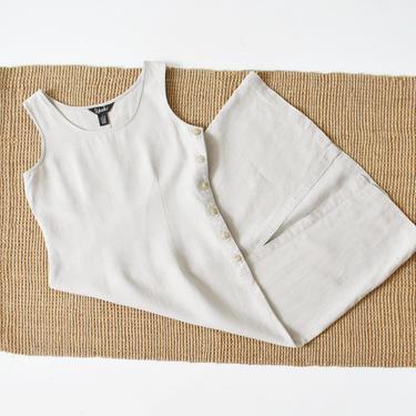 vintage linen midi dress, long flax tank dress, size S / M by ImprovGoods